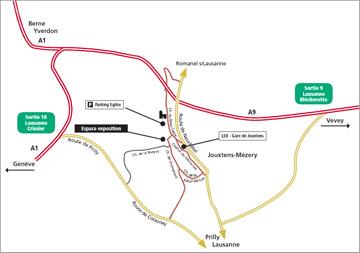 Plan d'accès à La Grange à Jouxtens